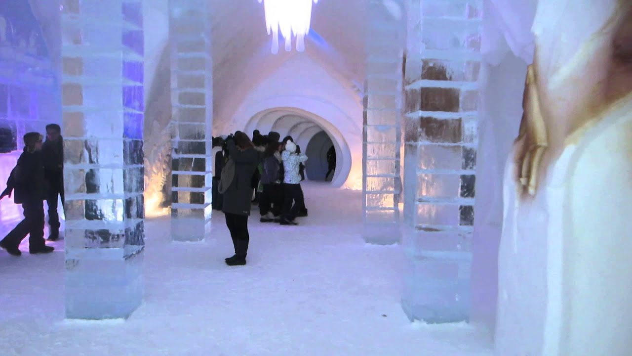 the h tel de glace the ice hotel walk through in qu bec. Black Bedroom Furniture Sets. Home Design Ideas