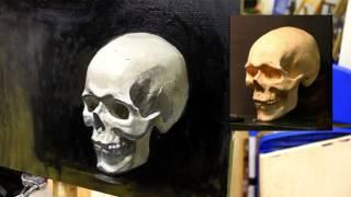 Штудия черепа (детализация) - Обучение живописи. Масло. Портрет, 12,5 серия