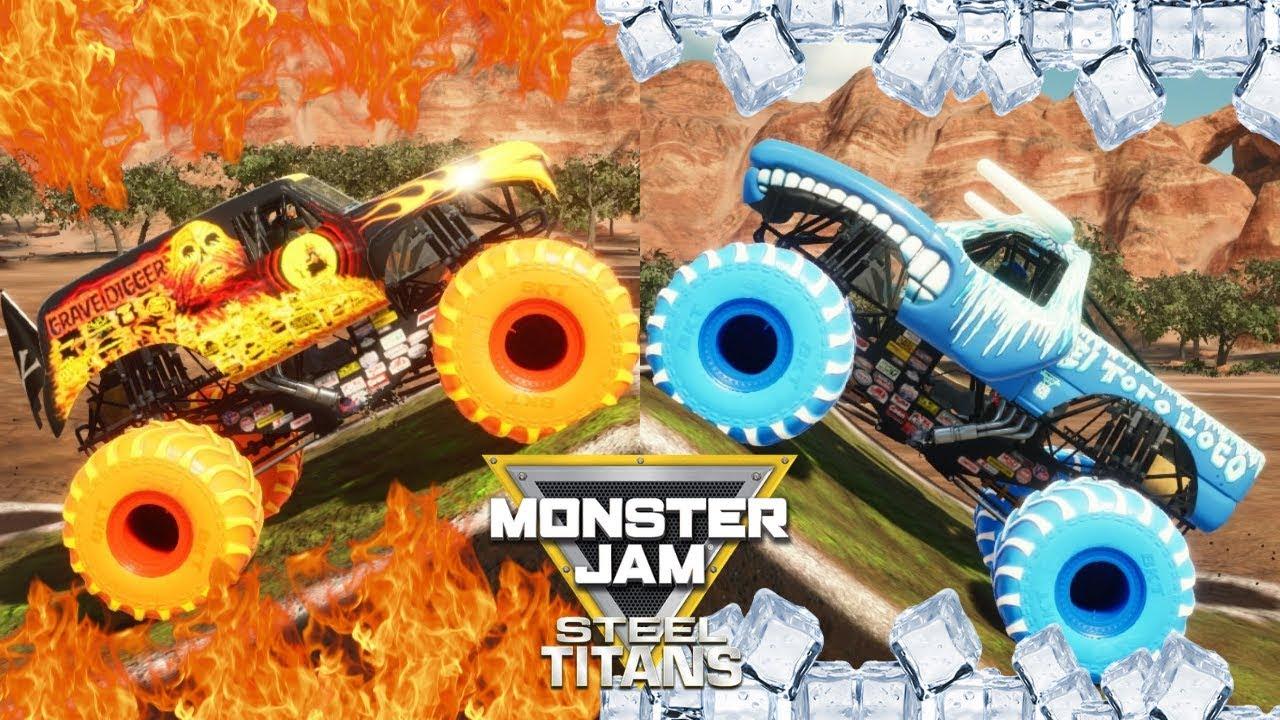 Monster Jam Fire And Ice Monster Trucks Dlc Steel Titans Backflip Championship Youtube