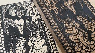 Woodblock Print - carved and printed by Emils Salmins 'Sprīdītis''