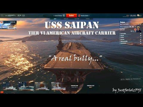 World of Warships - USS SAIPAN Review & Gameplay [PRE 0.3.1]