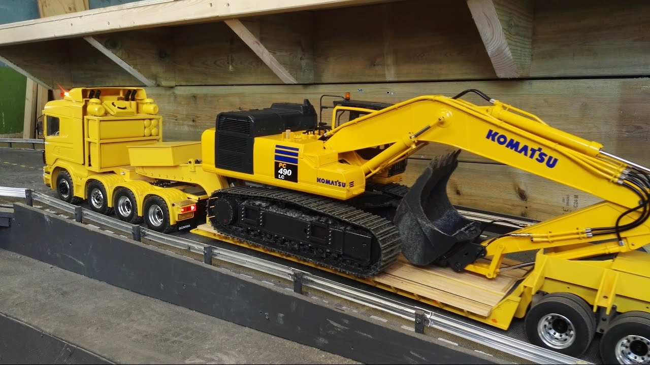 Rc Truck Heavy Load With Komatsu Excavator And Motorized 3