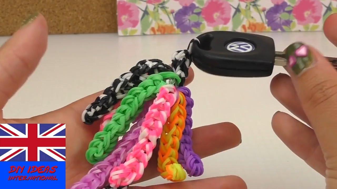 Keychain Loom Bands Tutorial Rainbow Loom Key Chain Easy Step By