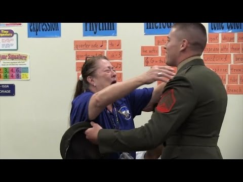 Watch Marine Sergeant Surprise Elementary Teacher Mom In The Middle Of Class