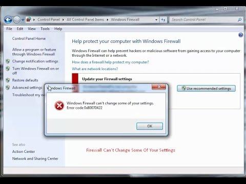 how to fix error code 0x80070422