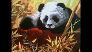 Картина маслом. Панда в кустах