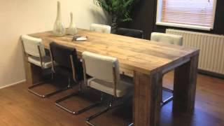 Steigerhouten tafel Kollmar van extra dikke steigerhout planken
