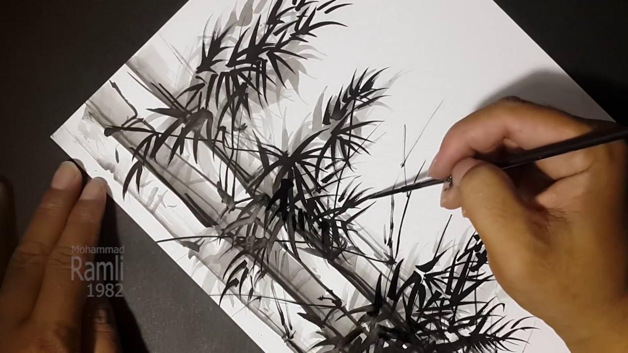 Cara Cepat Melukis Bambu Menggunakan Tinta Cina Bamboo Painting