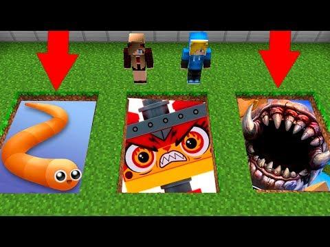 НУБ И ДЕВУШКА ПРО ПРОТИВ СТРАШНЫЕ ЯМЫ МОНСТРОВ В МАЙНКРАФТ ! Slither.io,  LEGO UNIKITTY, worm