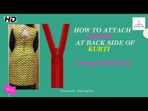 How to stitch zip on kameez