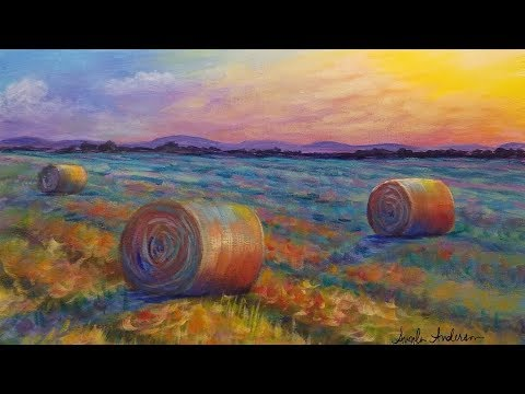 Autumn Landscape with Hay Bales Acrylic Painting Tutorial LIVE