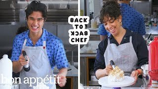 Charles Melton Attempts To Keep Up with a Professional Chef | Back-to-Back Chef | Bon Apptit