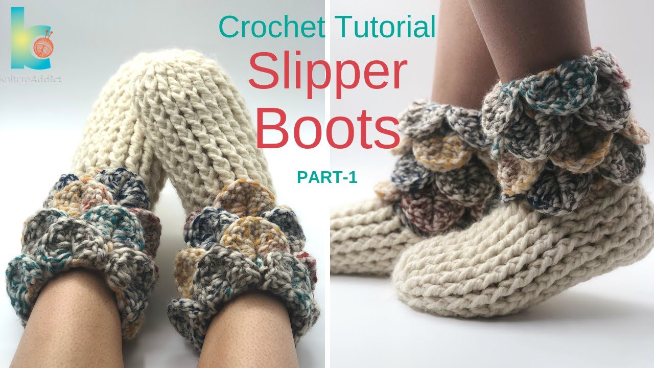 a903dfeda9b07 How to crochet : Slipper boots ( Part-1 )