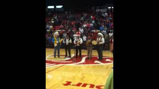 Young gray horse honor song at halftime of Louisville vs Wa