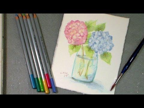 watercolor pencil techniques still life florals fall scene