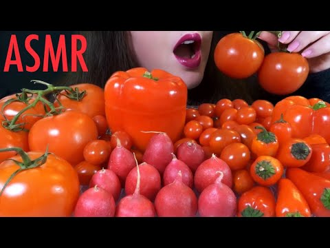 HEALTHY EATING ASMR Raw RED Veggie Platter [Radishes, Tomatoes, Peppers] CRUNCHY & Juicy Sounds