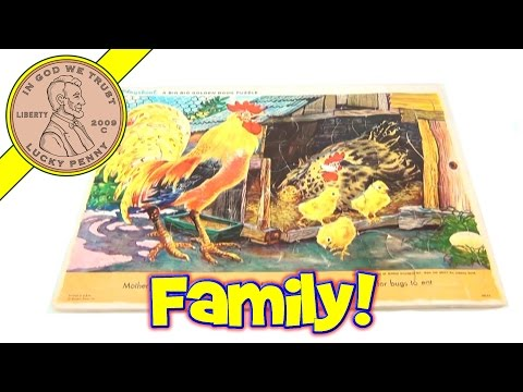Vintage Playskool A Big Big Golden Book Rooster Chicks Jigsaw Frame Tray Puzzle, 200-98