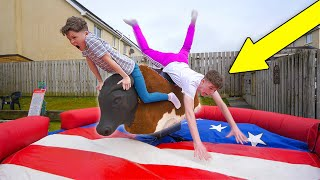 Last To Fall off MECHANICAL BULL Wins $10,000 - CHALLENGE!!