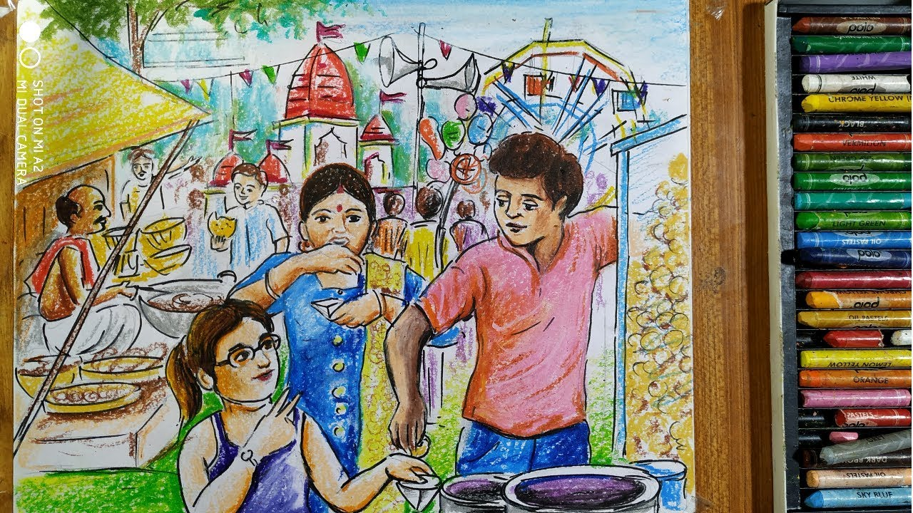 How To Draw Rather Mela Rath Yatra Drawing Village Fair Scenery Drawing Festival Drawing