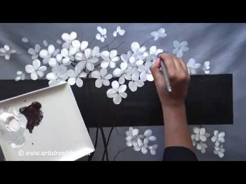 Step By Step Acrylic Painting For Beginners On Large Canvas Black White Youtube