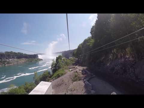 Riding new zip line in Niagara Falls, Ontario
