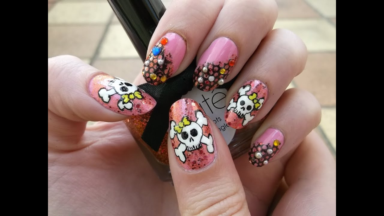 Cute Skulls on Girly Pink Polish Halloween Nail Art - YouTube
