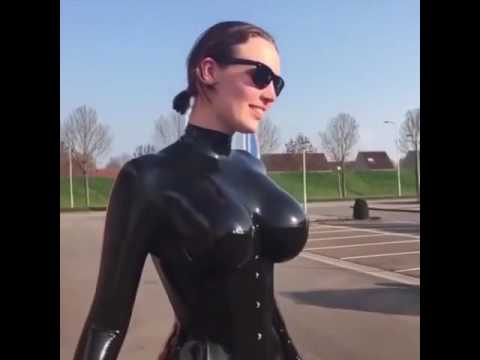 Lesbians in latex rubbing big tits woman and oral