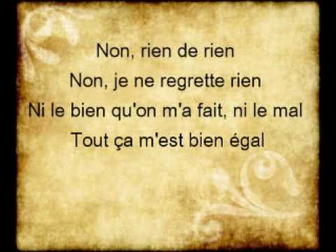 Non Je Ne Regrette Rien Lyrics Edith Piaf