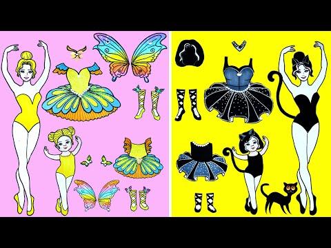 Paper Dolls Dress Up ~ Costumes Dress Paper Ballet Butterfly & Black Cat Handmade ~ Doll Beauty