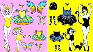 Paper Dolls Dress Up ~ Costumes Dress Paper Ballet Butterfly \u0026 Black Cat Handmade ~ Doll Beauty
