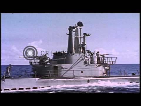 A U.S. submarine surfaces in the Pacific Ocean and is serviced  by a tender HD Stock Footage