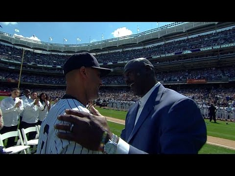 Michael Jordan introduced on Derek Jeter Day