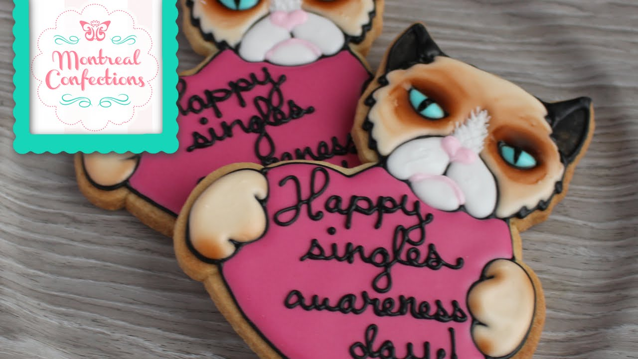how to make a grumpy cat cookie cute valentines cookie youtube
