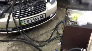Промывка радиатора печки и системы охлаждения на установке Хюндай Акцент