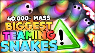 THE TWO BIGGEST RAINBOW SNAKES TEAMING EPIC W/ 40 000 MASS (SLITHER.IO / SLITHERIO Funny Moments #7)