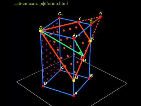 Угол между плоскостями в правильной четырёхугольной призме