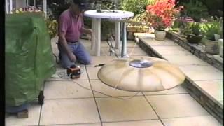 Coanda disk aircraft lift demonstration.