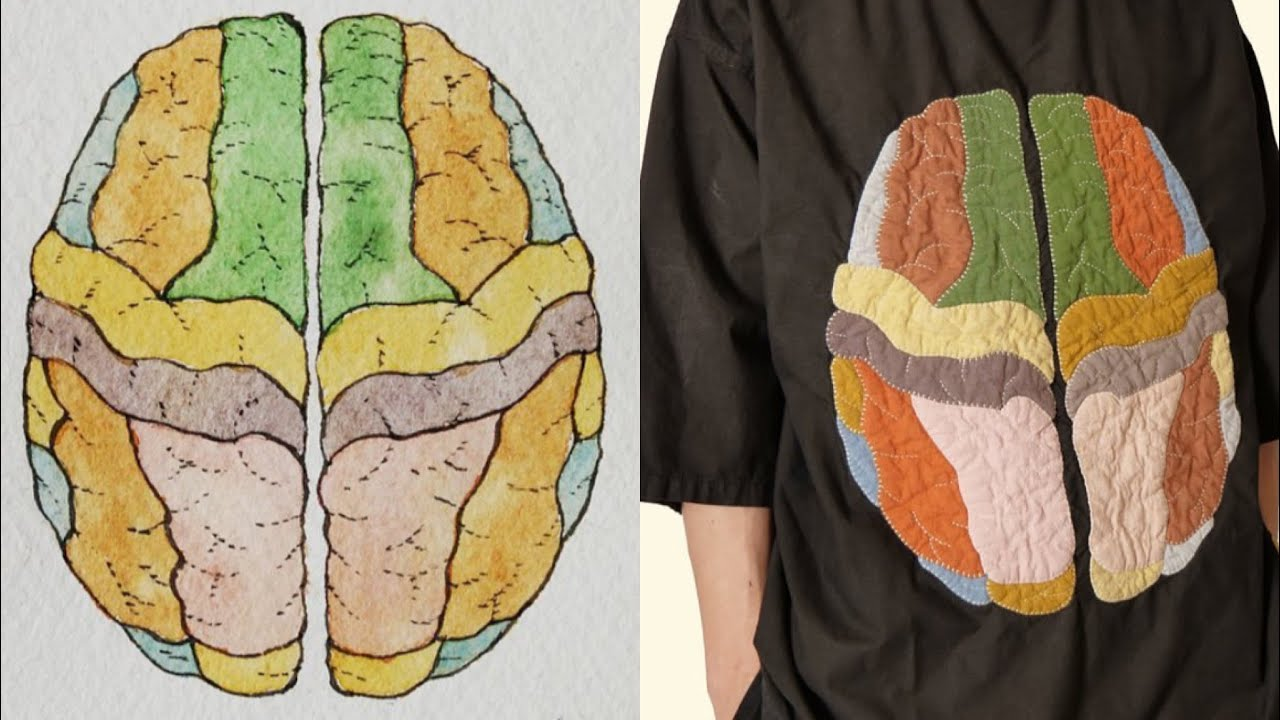 From Watercolor Painting To Brain Patchwork Tee by MUTSU