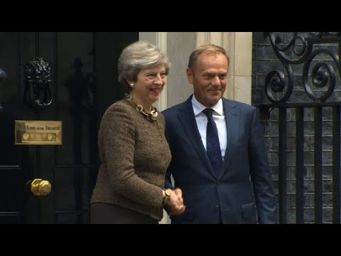 Theresa May meets Donald Tusk in London
