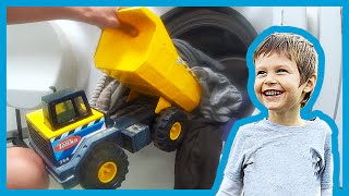 Toy Dump Truck Does The Laundry