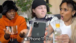 Främlingar bråkar om vem som vinner en iPhone 11 Pro