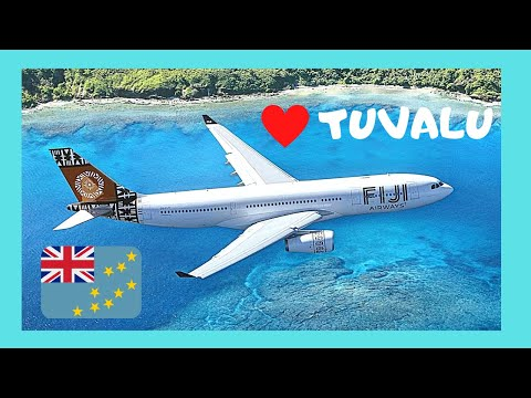 FIJI AIRWAYS LANDING in the remote country of TUVALU, South Pacific Ocean