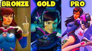 BRONZE vs GOLD vs PRO - Overwatch Pro + Funny Moments #21