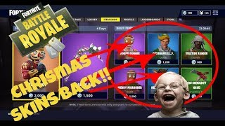 THEY'RE BACK! ALL CHRISTMAS SKINS IN FORTNITE BATTLE ROYAL ARE BACK IN THE ITEM SHOP KNOW!
