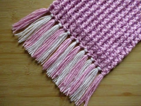 Crochet Scarf Tutorial Fringed Scarf Ribbed Easy With Tassels Youtube