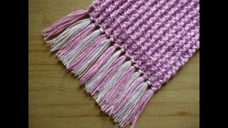 Crochet Scarf tutorial Fringed scarf Ribbed Easy with Tassels