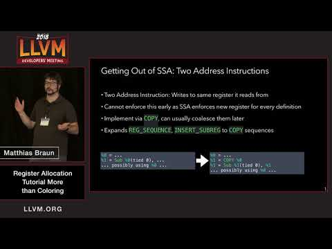 "2018 LLVM Developers' Meeting: M. Braun ""Register Allocation: More Than Coloring"""