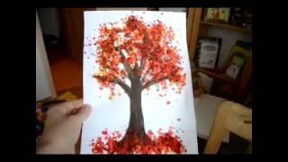 Поделка в садик на тему осень : осеннее дерево с помощью расплавленных восковых мелков.
