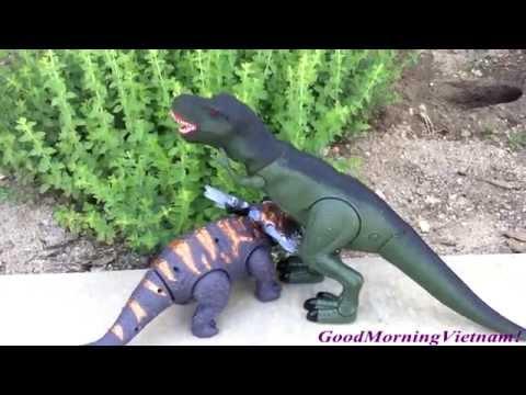 Khủng Long T-Rex Và Khủng Long Bọc Giáp Thi Chạy (Bí Đỏ) T-Rex Triceratops  Running Competition