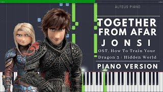 TOGETHER FROM AFAR - Joฑsi (Ost. How To Train Your Dragon 3) | Piano Version TUTORIAL (Synthesia)